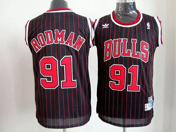 4de400d5e53 Adidas NBA Chicago Bulls 91 Dennis Rodman Black Red Stripe Red Stripe  Throwback Swingman Jersey
