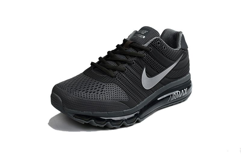 Men Air Max 2017 Black Silver Running Shoes
