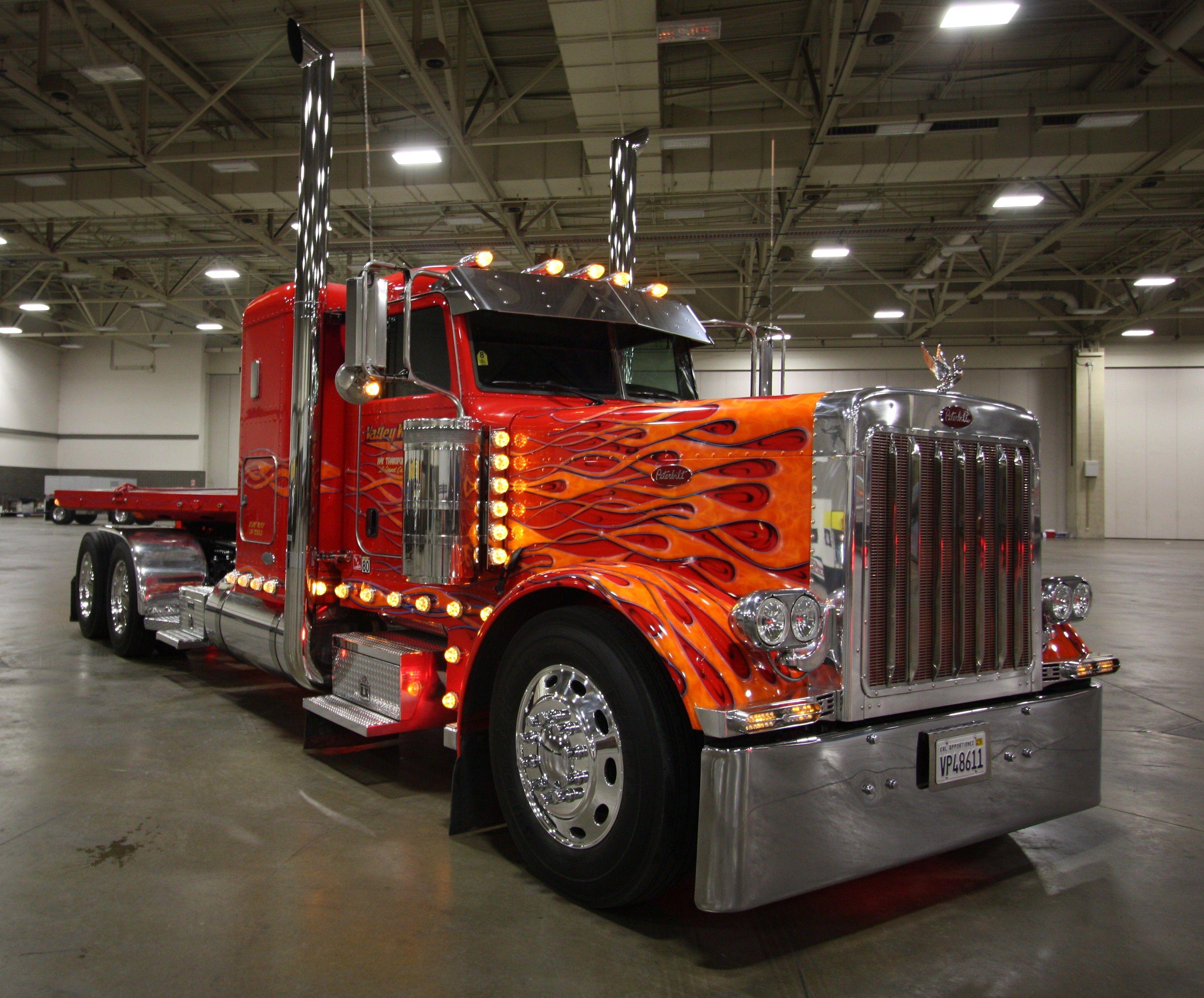 Red Flames Custom Paint Big Rig