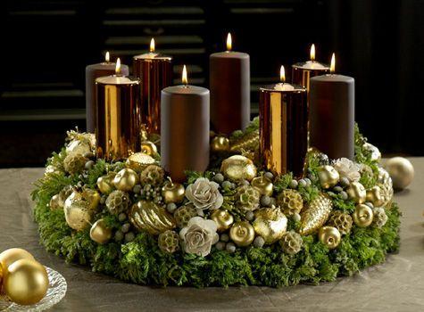 pr chtiger adventskranz in der trendfarbe bronze bloom 39 s adventskr nze natur pinterest. Black Bedroom Furniture Sets. Home Design Ideas