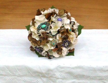 Brooch Wedding Bouquet Two Tone Flowers  Bridal by artforahome, $195.00