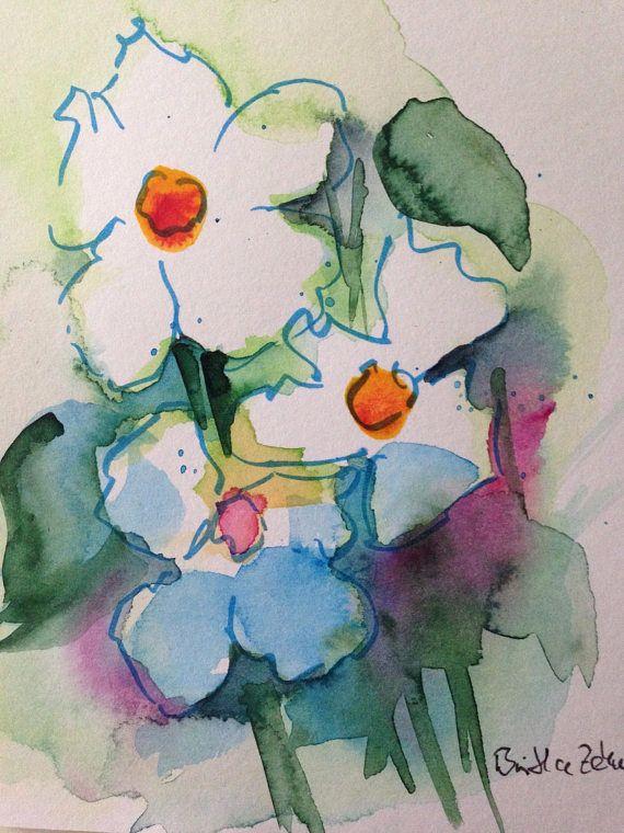 Fleurs Aquarelle Originale De Fleurs Sauvages De Carte Postale