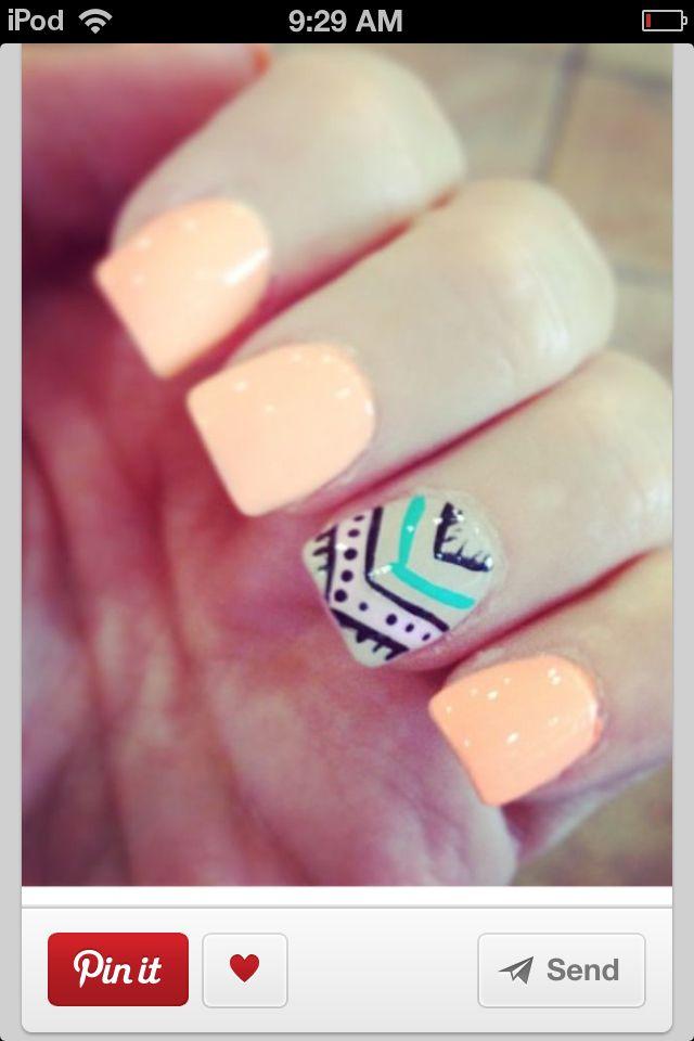 Peach Aztec nail design!!! Love it | Acrylic Nails | Pinterest ...