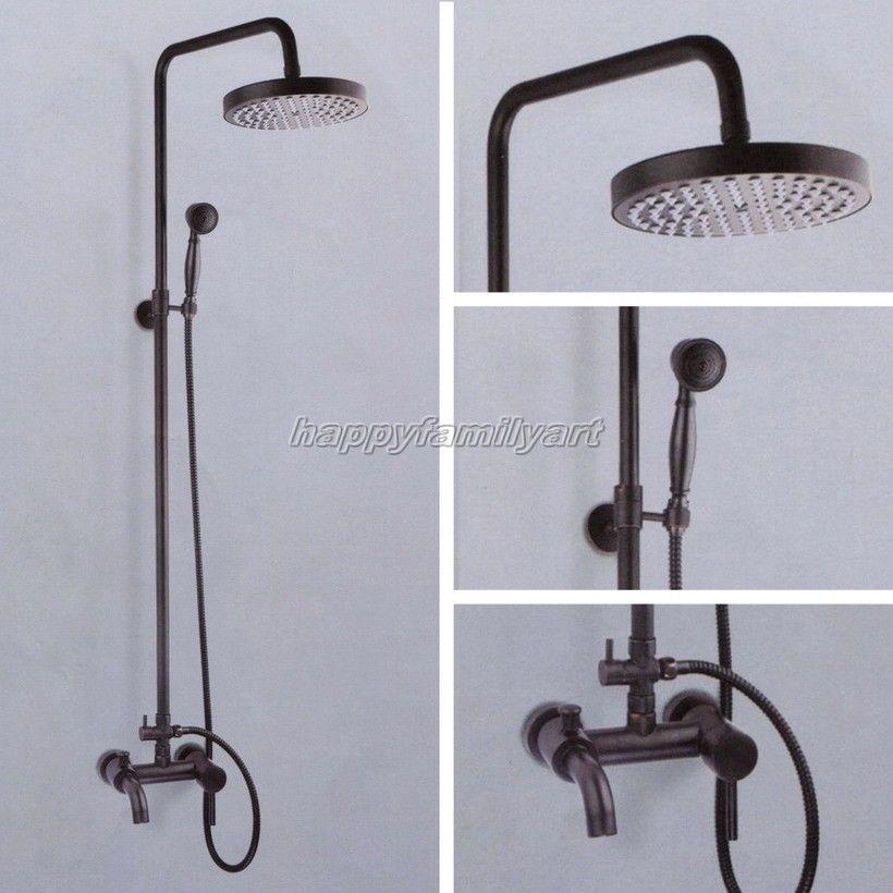 Black Oil Rubbed Brass Bathroom Rain Shower Faucet Round Shower Head