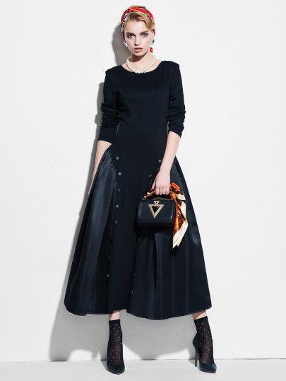 Kleid mit V hinten und Knöpfen Detail - German SheIn(Sheinside)