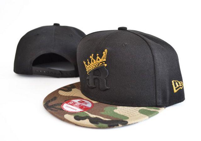 b57b744b42a New Era R-CROWN Snapback Hats Black 009