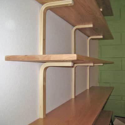 DIY Shelf Brackets Made From IKEA Stools Wood shelf
