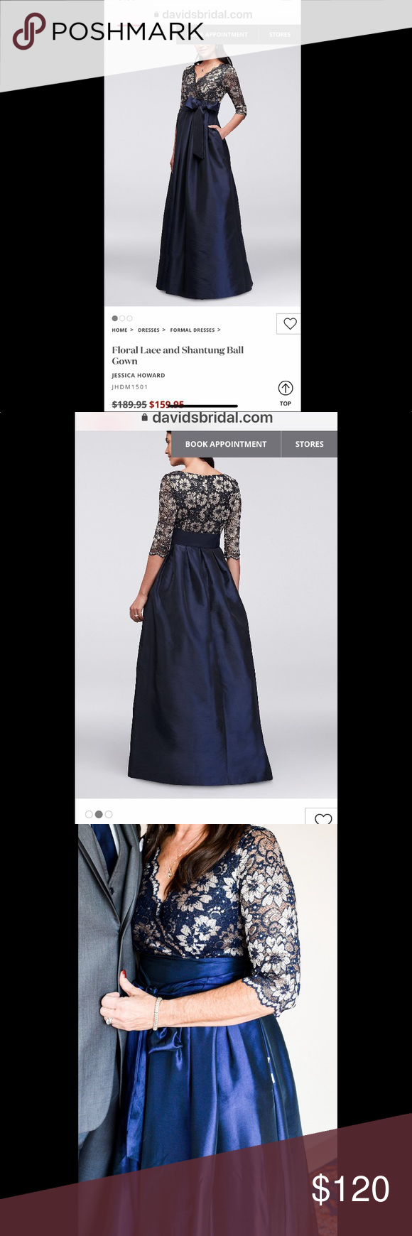 8ba3e017a2a Jessica Howard Floral Lace and Shantung Ball Gown Navy ball gown with  floral lace top and shantung skirt with pockets. This is a beautiful floor  length gown ...