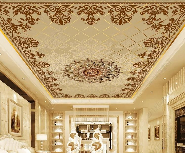Papel De Parede 3d Custom 3d Ceiling Mural Photo Wallpaper Living Room Pattern Border Ceiling Wall Papers Home Decor Wall Treatments Ceiling Murals Wallpaper Living Room