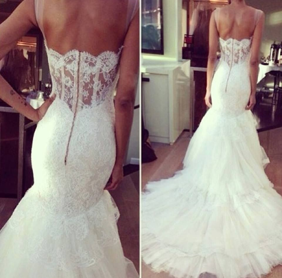 Lace Mermaid Dress W. See Through Lace Back With Feathers On Bottom.