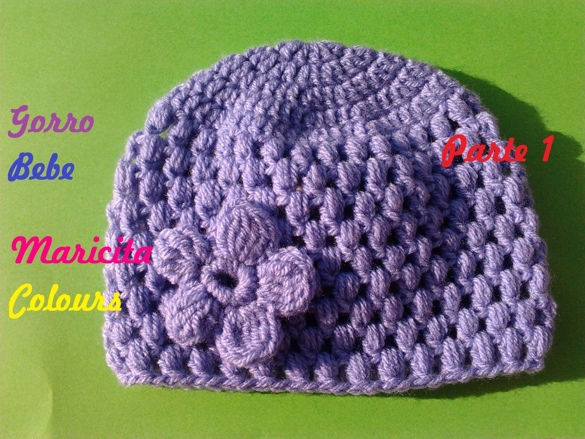 Tutorial Crochet Ganchillo Gorro para Bebe Lila (Parte 1), super ...