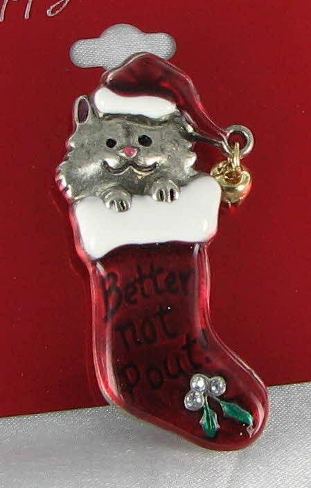 New Cat Xmas Pin Brooch Kitty Kitten Christmas Stocking Bell Holly