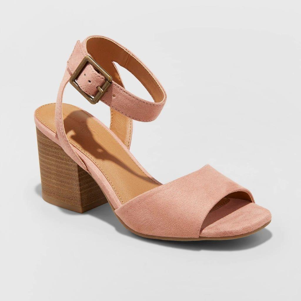 8e0a3886d7d Megan Microsuede Quarter Strap Heeled Pump Sandals
