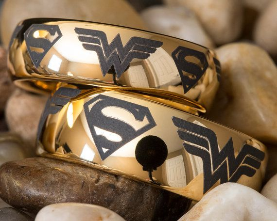 FANS of Superheroes will love this His and Hers 7mm & 9mm Dome Superman Wonder Woman Design tungsten ring!!! ★ IMPORTANT ★    Please remember to