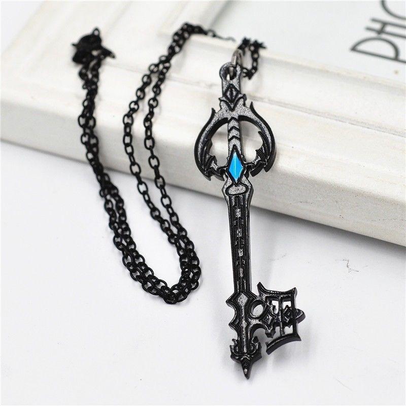 Anime Kingdom Hearts Oblivion Keyblade Black Metal Pendant Necklace Cosplay