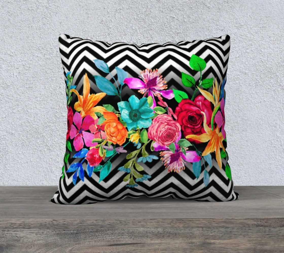 Watercolor Flowers And Leaves Black And White Chevron Pillow Cover Throw Pillow Large Sofa Pillow Accent Pillow Decorative Pillow Large Sofa Pillows Chevron Pillows Chevron Pillow Covers