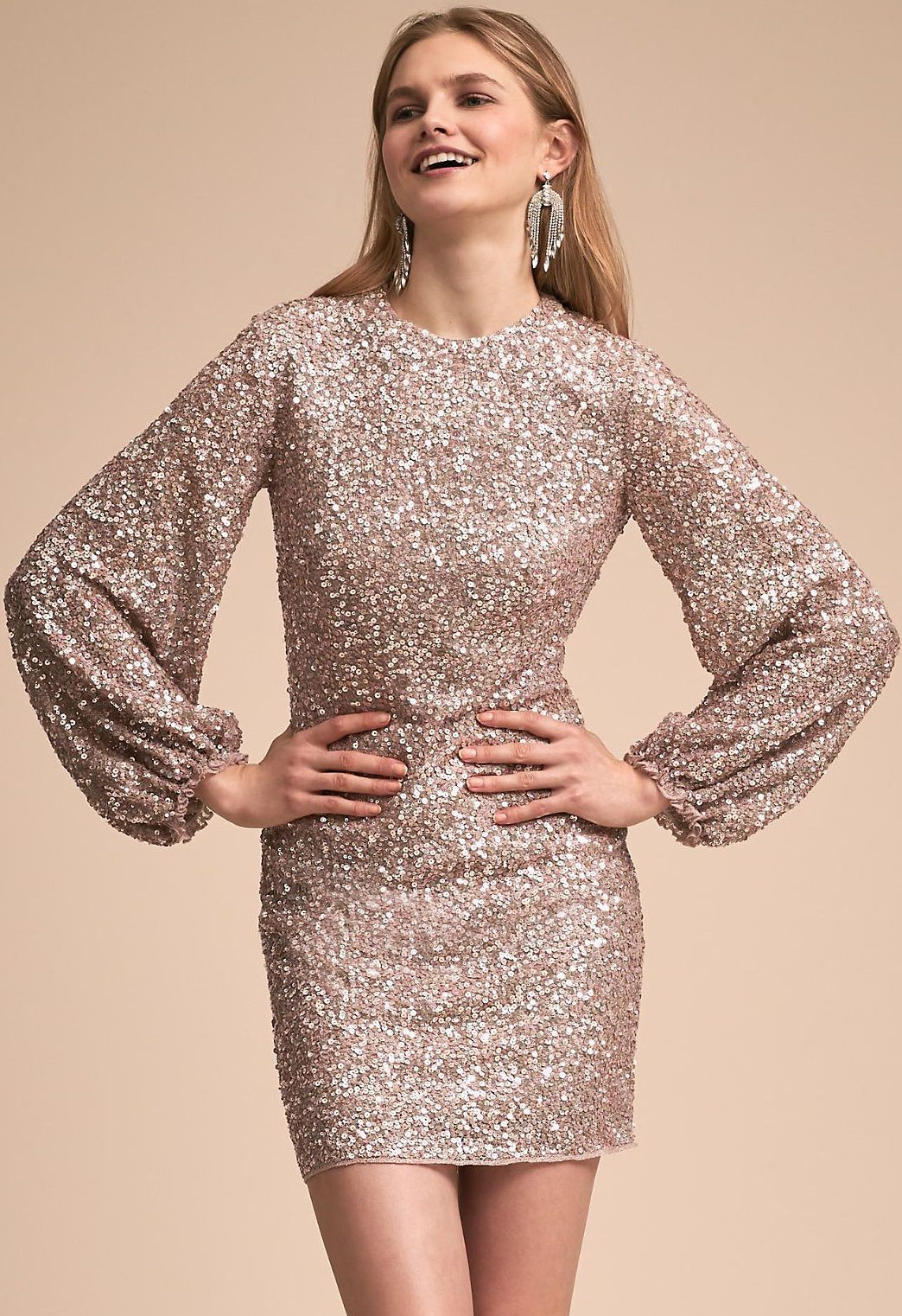 Long sleeves sequins homecoming dressround neck prom gown for teen
