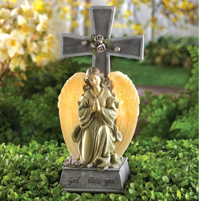 Solar Lighted God Bless You Angel And Cross Solar Lights Garden Garden Figurines Solar Lights