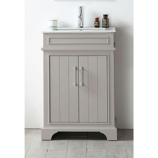 Legion Furniture Espresso Wood Ceramic Top 24 Inch Single Sink Bathroom Vanity Wh7724 Wg Grey Size Vanities