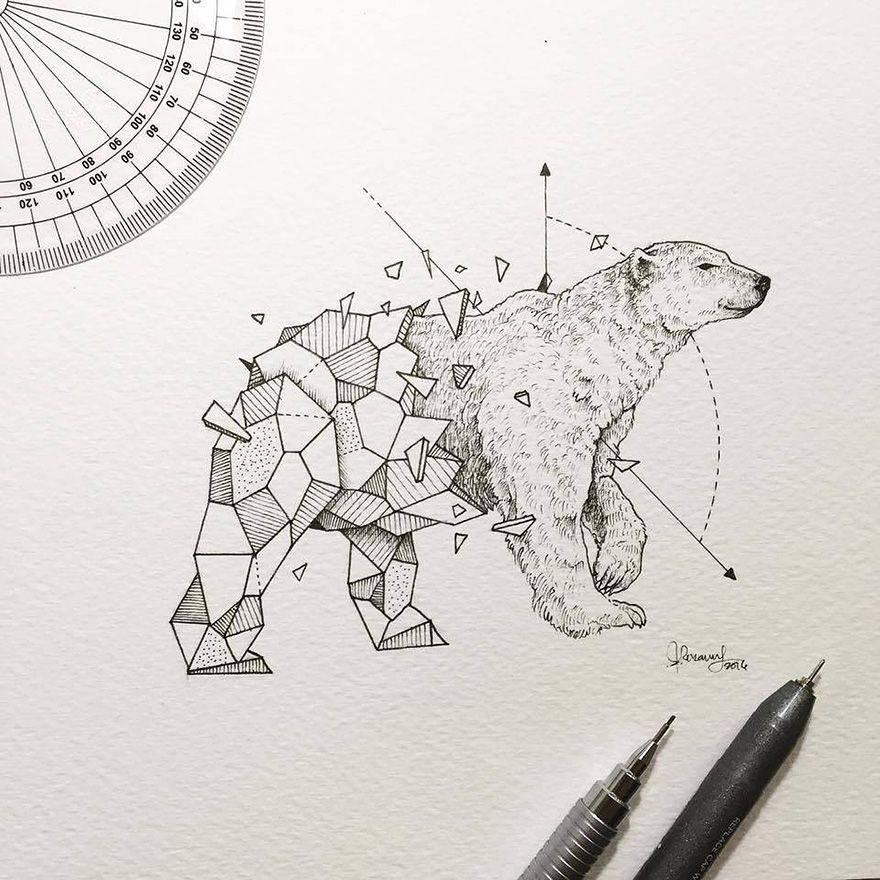 Drawing Lines With Polar Tracking : Intricate drawings of wild animals fused with geometric