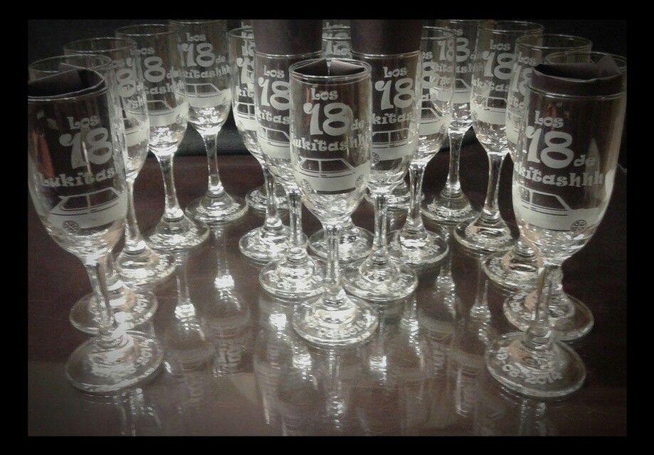 Souvenirs 18 años copas grabadas