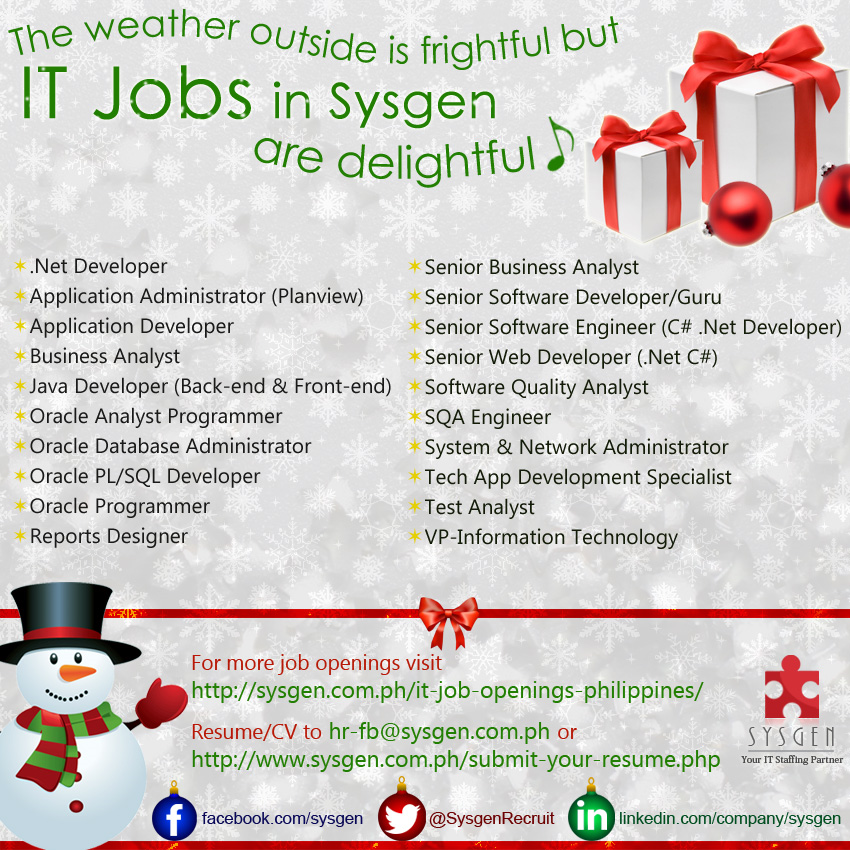 Job Openings As Of December   Visit HttpSysgenComPh