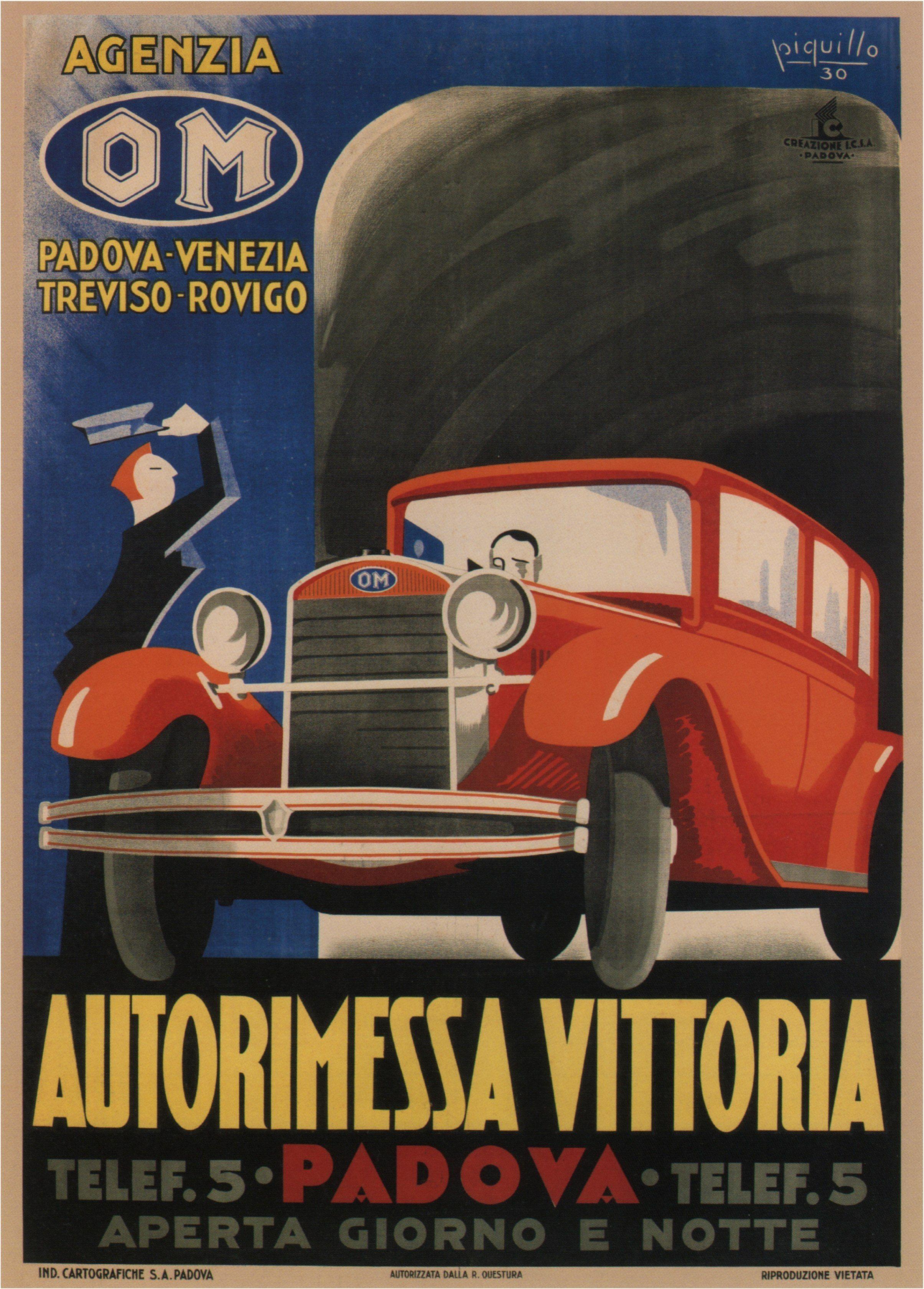 Italian Retro Car Poster Autorimessa Vittoria Padova 1930 Vintage