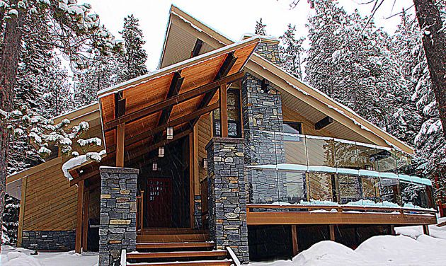 A modern mountain alpine home design that includes a steep for Alpine house plans