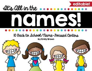 Start off your year with these fun name centers! These are perfect to introduce centers, to get to know one another, and to practice letter recognition, writing, and fine motor skills.Click the preview to see some of what's included!Included are 10 engaging name-focused centers -- all of which are completely editable in Adobe Reader.