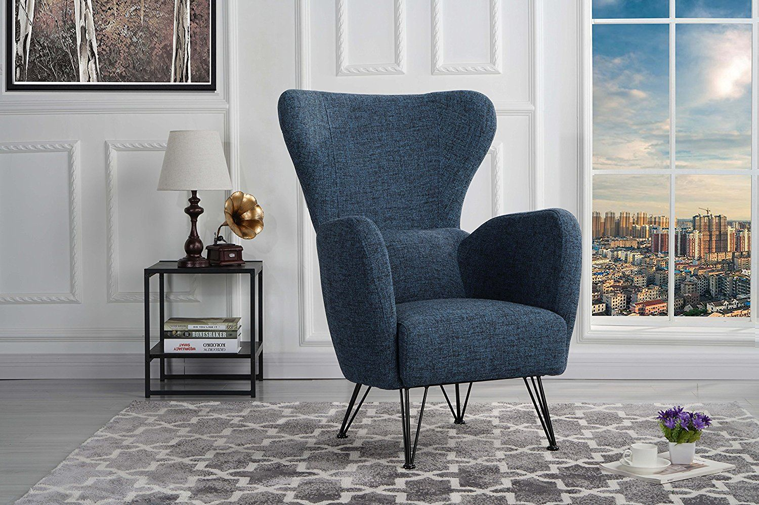 Best Mid Century Modern Linen Fabric Accent Armchair With 400 x 300