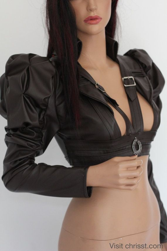 Steampunk Gothic Bolero Underbust Leather Wedding Bridal Cosplay Victorian Leather ette - Andru Chrisst -SPECIAL ETSY PRICE