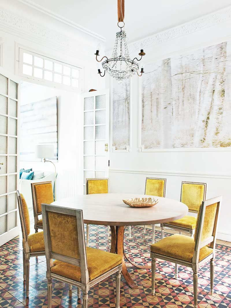 At Home With A Spanish Photographer Yellow Dining Chairs Dining
