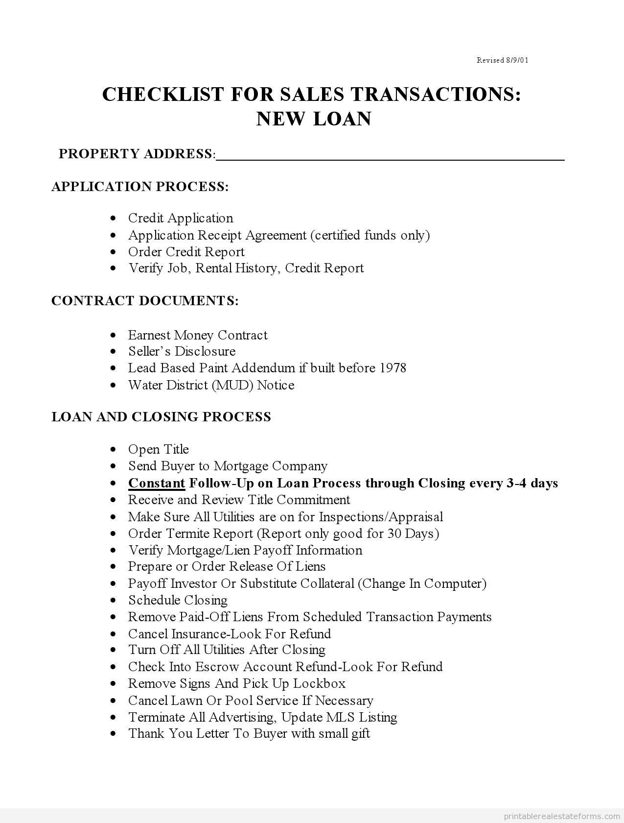 Printable Checklist For Sales With New Loans  Template