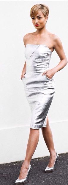 Silver Off Shoulder Inspiration Dress by Micah Gianneli