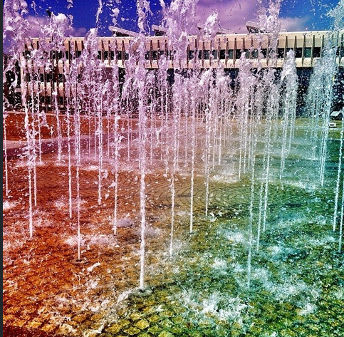 A #rainbow of colors emerged on the #UAlbany Entry Plaza #fountain. Photo by @Stephanie Close Snyder.