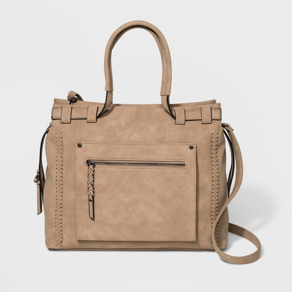 4b4e4c6702cb For versatile style you can rely on accessorize with the VR by Violet Ray  Braided-Trim Satchel Handbag. In a neutral shade of tan this square satchel  ...