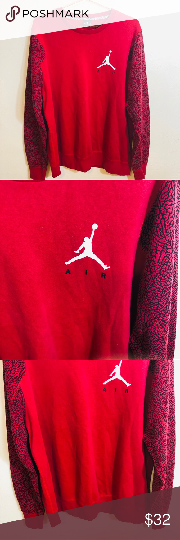 """Jordan Air Red Black Long Sleeve Sweater Jordan Air Red Black Long Sleeve Sweater   Great Condition  Fabric: See Pictures for Details  Below are flat lay approximate measurements in inches:  Armpit 27"""" Sleeve 28"""" Length 31""""  No swaps/Trades 🛑 Offers Welcome.  Please browse rest of my closet LIKE,SHARE, MAKE OFFERS, BUY!!  I share other Posh Closets Daily  💯 👍🏼❤️  Please check out the rest of my closet.     Thanks for Poshing 😁 thru🥂  Item- Sweater Jordan Sweaters"""