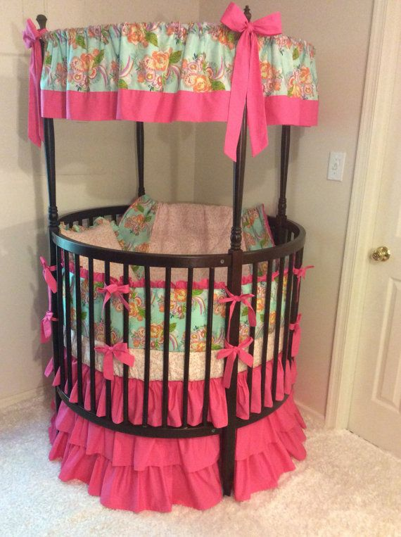 Baby Girl Round Crib Bedding Ruffled In Aqua And Hot Pink Floral