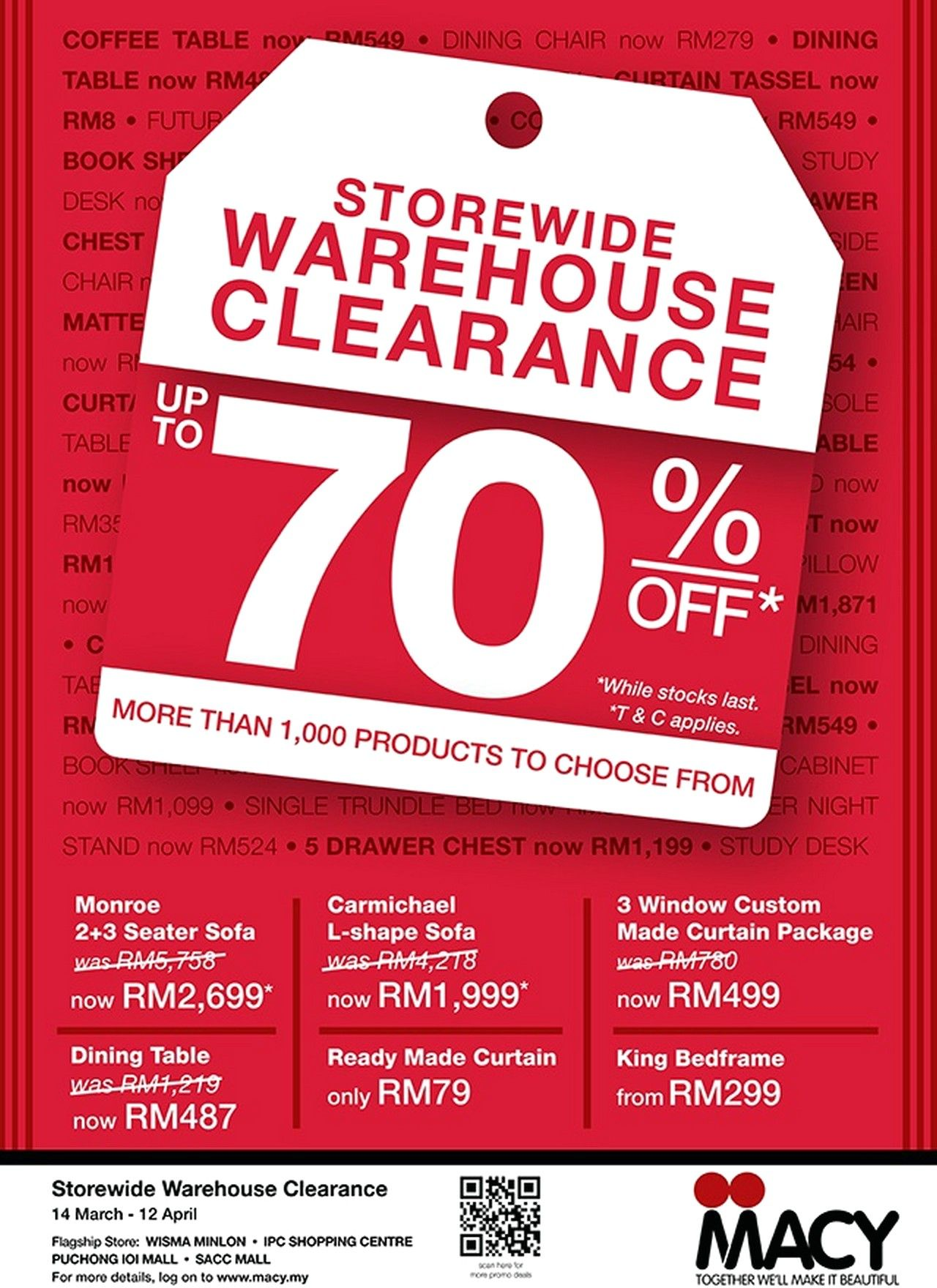 Macy Furniture Malaysia Are Having Their Furniture Clearance Warehouse Sale  Now. Enjoy Storewide Warehouse Sale Clearance Discounts Up To On Furniture,  ...