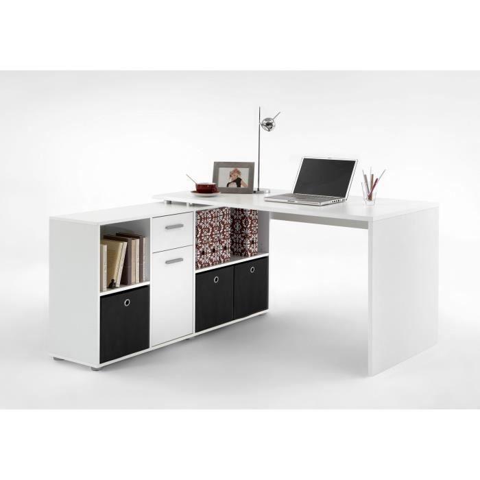 Zito Bureau Angle Reversible Contemporain Blanc Ma Bureau