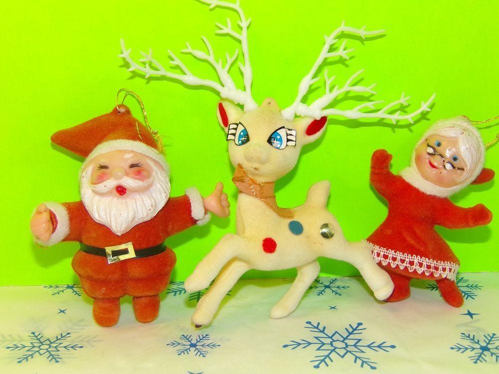 Vintage Felt Santa Claus Reindeer Mrs. Claus Collectible Christmas Ornaments    Collectibles, Holiday & Seasonal, Christmas: Modern (1946-90)   eBay!