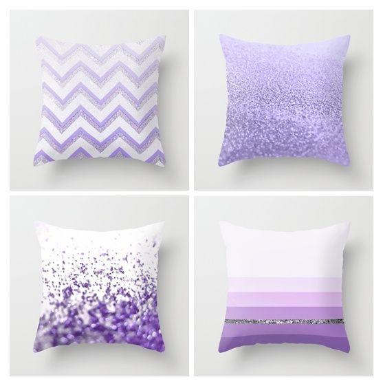 Purple Pillow Set By Monika Strigel With Chevron Stripes Glitter Sparkles Silver Purple Throw Pillows Glitter Room Purple Pillows