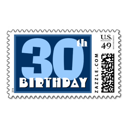 30th Birthday Party Big Bold Blue and White Postage Stamps