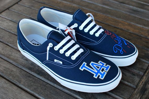 0ce2acffc5 LA Dodgers Vans shoes by BStreetShoes on Etsy. Like the wording being  different on each shoe.