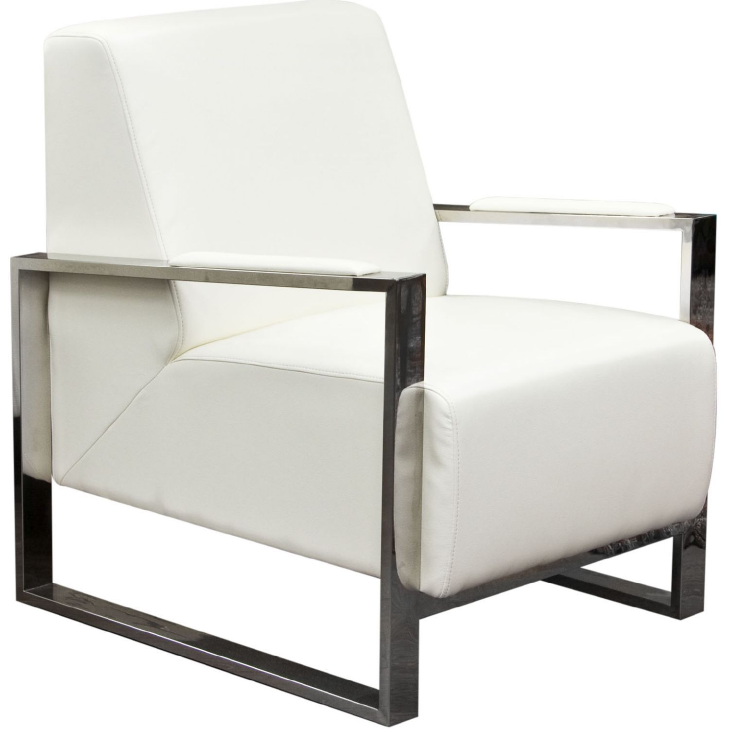 Aaron Bonded Leather Accent Chair: Diamond Sofa Century Accent Chair Stainless Steel Frame