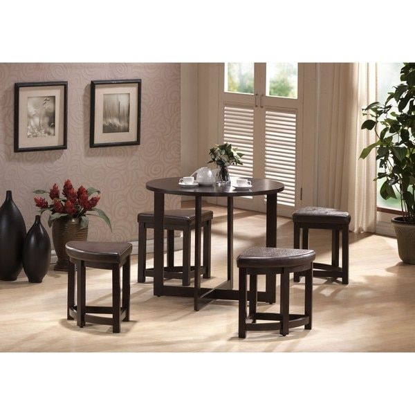 Baxton Studio Rochester Brown Modern Bar Table Set With Nesting Stools    13847826   Overstock   Big Discounts On Baxton Studio Dining Sets   Mobile