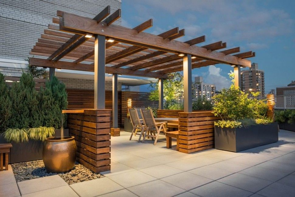 Exterior excellent home roof top terrace design using wooden pergola roof also jar water feature - Rooftop terrace beautiful and fresh rooftop decorating ideas ...