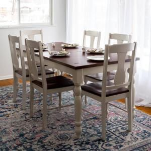 Charmant Give Your Living Space A Simple Transitional Style By Adding This Walker  Edison Furniture Company Two Toned Bourbon And White Dining Set.