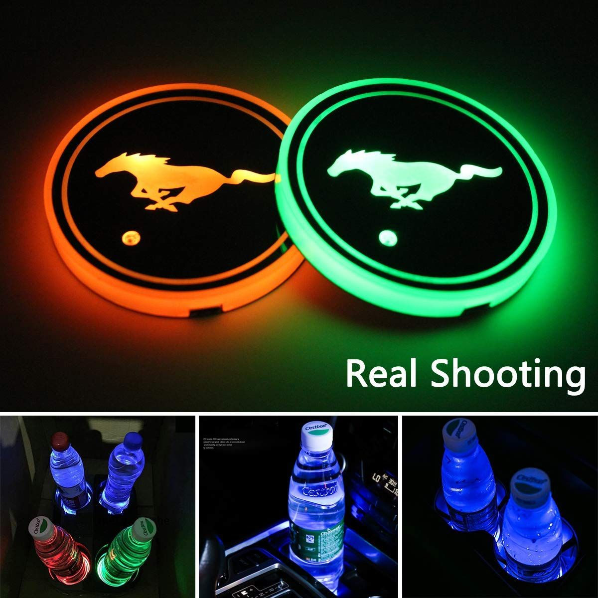 2 PCS LED Car Cup Holder Lights,Mustang Logo Interior Accessories Coaster with 7 Colors Changing USB Charging Mat,Luminescent Cup Pad,Atmosphere Lamp Decoration Light