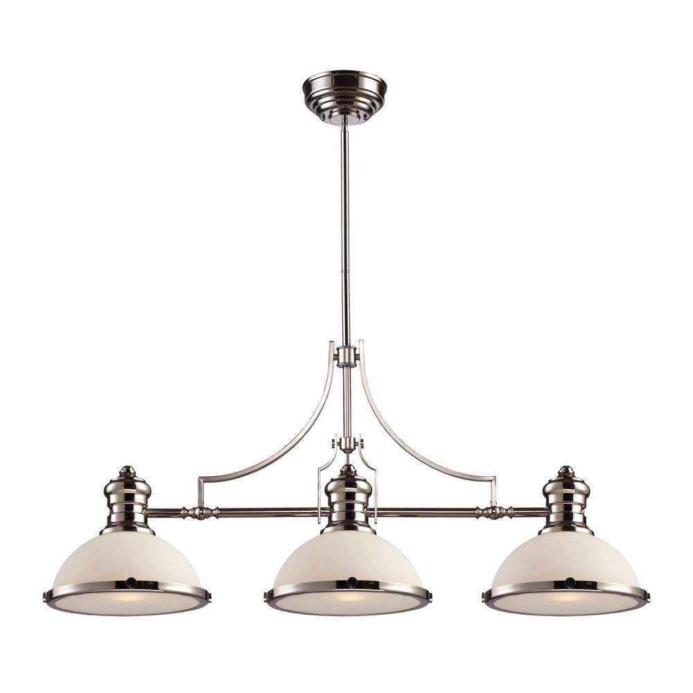 Chadwick island light in polished nickel with white by landmark elk lighting island fixture model elk lighting chadwick island light in polished nickel contemporary from the nickel steel finishes group in polished arubaitofo Image collections